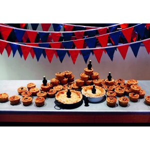 Canteen pies adorned with blackbird pie funnels (image from amazon.co.uk)