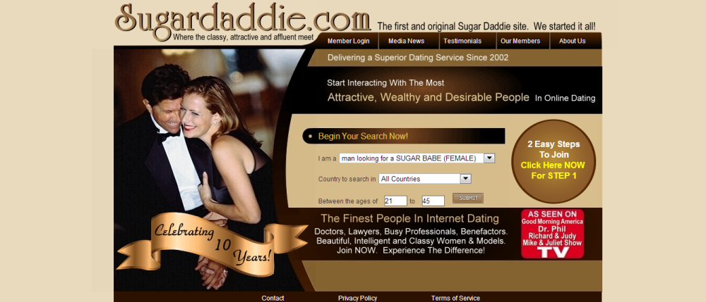 Sugardaddie.com homepage