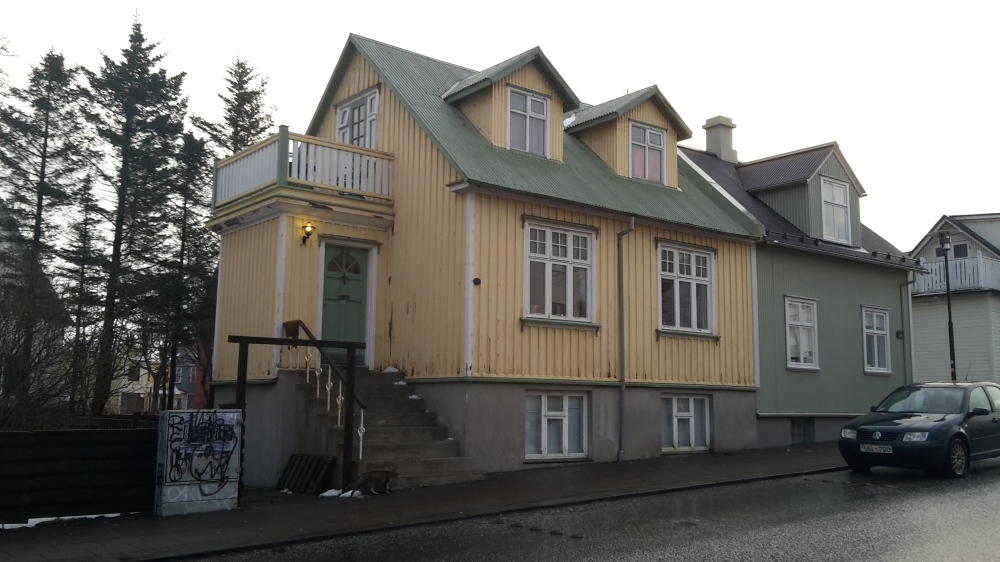 A yellow house in downtown Reykjavik