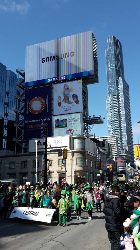St Patrick's Day parade 2015 at Yonge-Dundas Square, Toronto