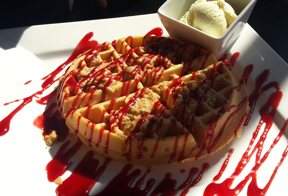 PB&J waffles with ice cream at Creams, Brighton