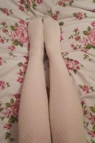 UKTights Le Bourget Laine ecru wool tights