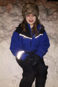 Kayleigh Tanner in a snowsuit in Lapland