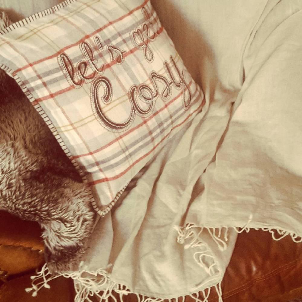 Khaki merino wool throw from [hoo-gah] for hygge night in
