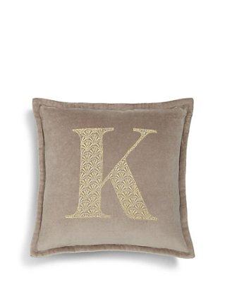 M&S embroidered alphabet cushion