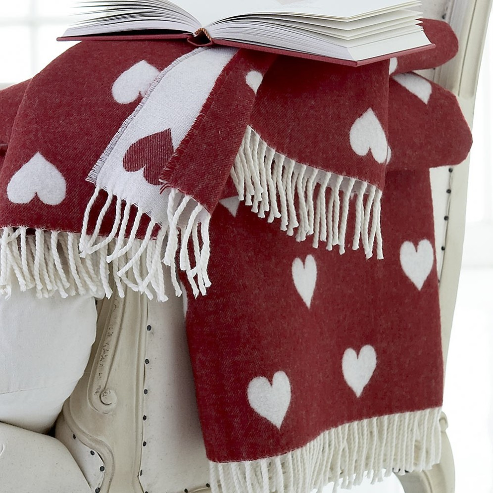 100% pure wool reversible heart throw