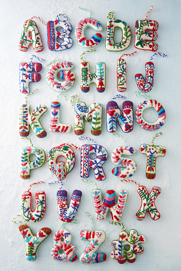 Anthropologie monogram Christmas decorations
