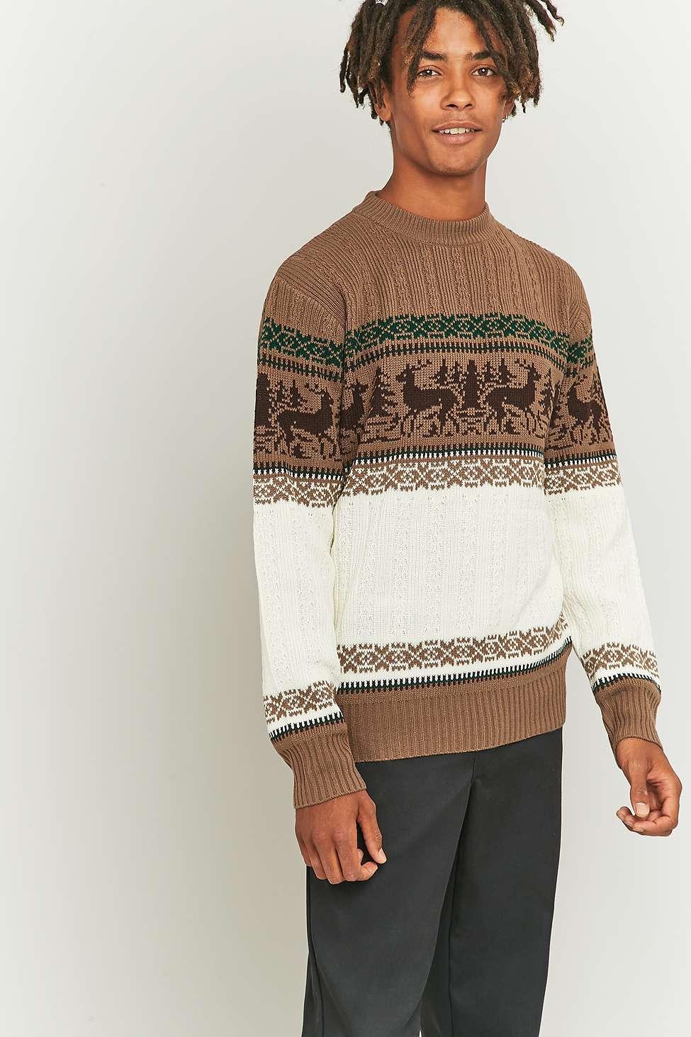 Brown reindeer jumper from Urban Outfitters