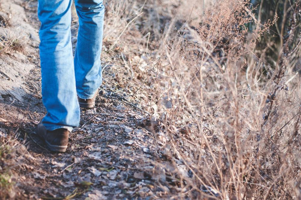 A man's legs in jeans walking in the countryside